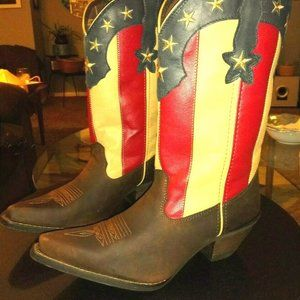 RED WHITE BLUE COWBOY COWGIRL BOOTS AMERICAN FLAG